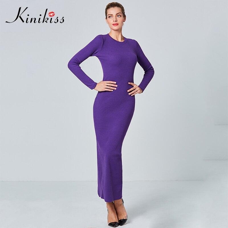 Kinikiss Women Knit Maxi Dresses 2017 Winter Causal Long Sleeve Elegant Sweater Dress Purple Bodycon Tight Knitted Long Dress