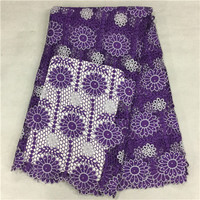 (5 yards/lot) PW218-1,Purple! embroidered guipure lace fabric,Hot sell African cord lace fabric for wedding,water soluble lace