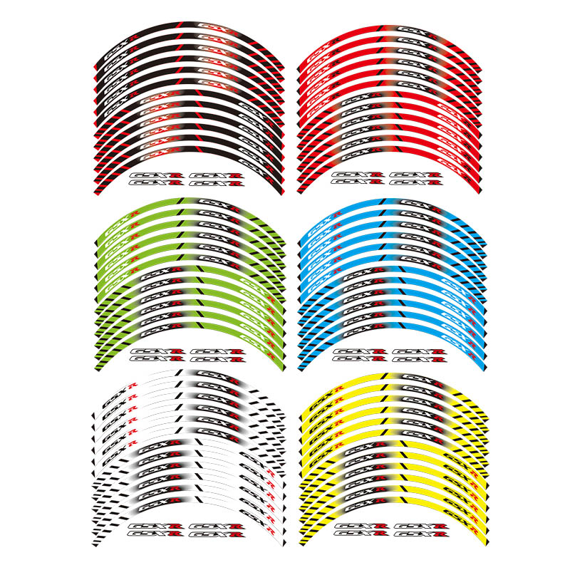 12 X Thick Edge Outer Rim <font><b>Sticker</b></font> Stripe Wheel Decals FIT all <font><b>SUZUKI</b></font> <font><b>GSXR</b></font> 250 400 <font><b>600</b></font> 1000 750 GSXR1000R GSXR1000 GSXR600 750 image