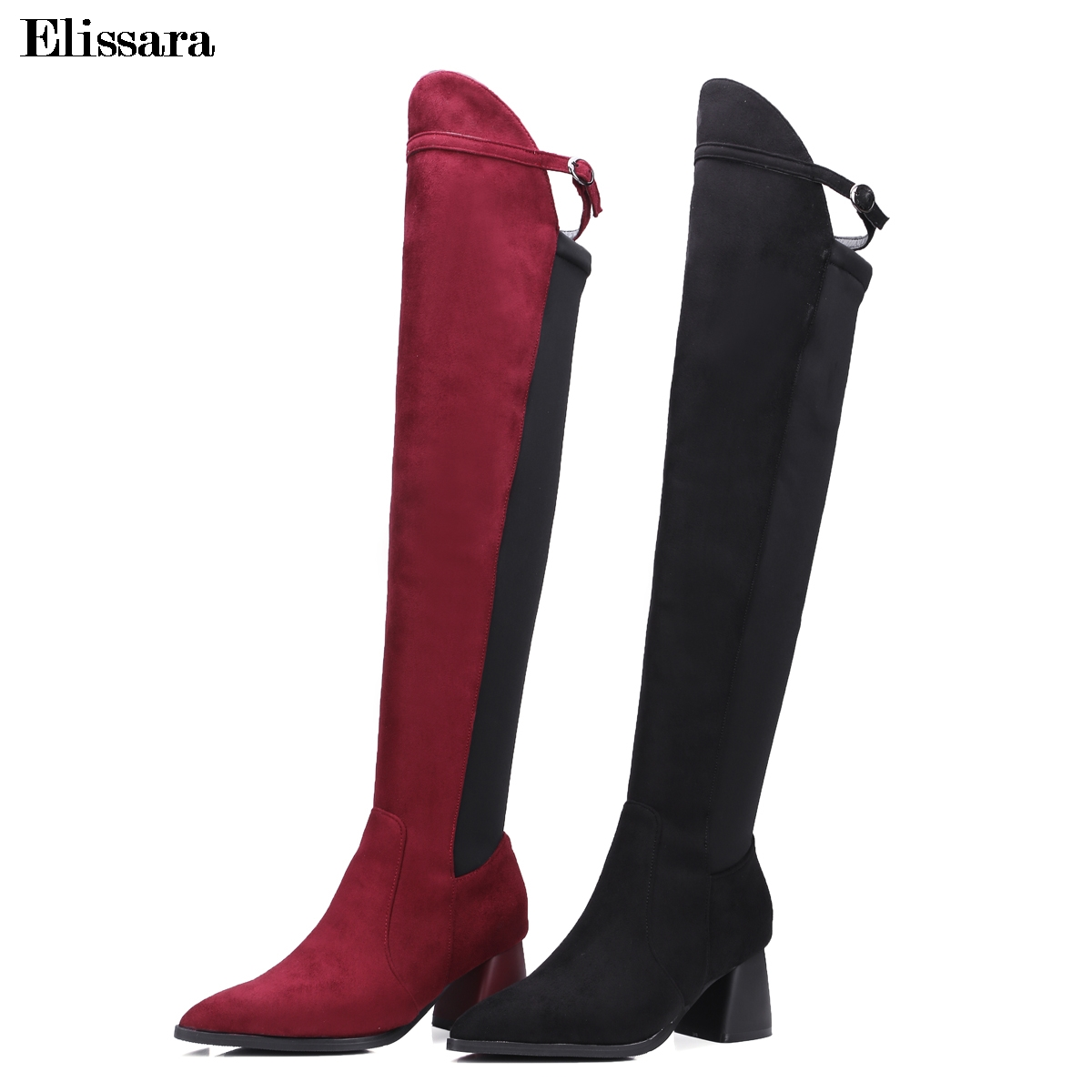 Elissara Women Winter Boots Women High Heels Over the Knee Boots Women Fashion Thigh High Boots Shoes Plus Size 33-43