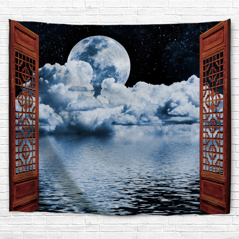 Open the Window Moon Light Fabric Decorative Wall Hanging Tapestry Scene Decor Polyester Curtain Table Cover Beach Picnic Usage