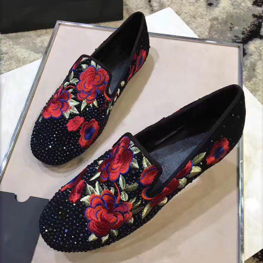 Pour Cristal Rhinestone Appartements Mocassins Dames Broderie Bout Mujer Zapato Rond Fleur Rhinestone dark Chaussures Plat De Casual Femmes Silver Strass Blue Op7w6RqFO
