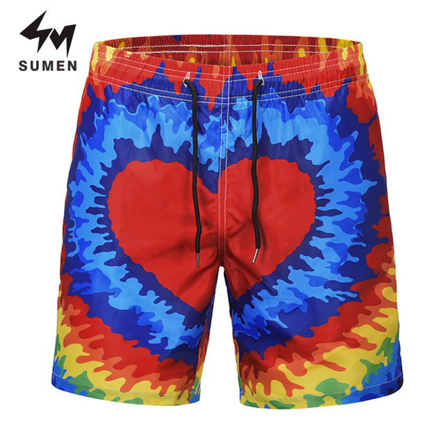 e4123acf8d Sumen New Summer Men 3D Sweatpants Casual Elastic Beach Shorts Funny  Colorful Heart Print Quick Dry Short Pants For Male