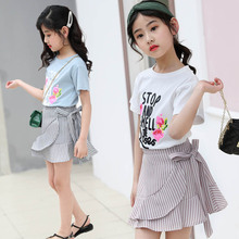 kids clothes Girls summer sets 2019 new 4-12 years girls fashion suit printing T-shirt ruffled skirt childrens
