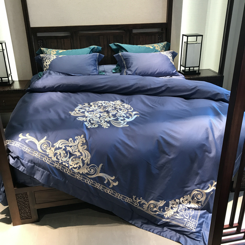 Blue <font><b>Luxury</b></font> 100S <font><b>Egyptian</b></font> <font><b>Cotton</b></font> <font><b>Bedding</b></font> <font><b>Set</b></font> Royal Embroidery Duvet Cover Bed sheet Bed Linen Pillowcases Queen King size 4pcs image
