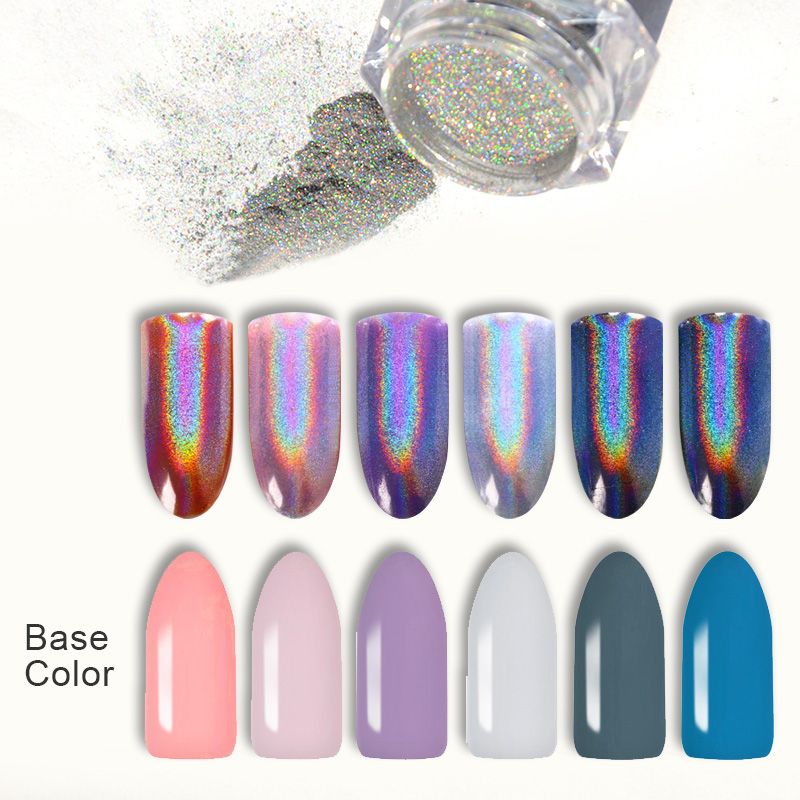 Extra Fine Holographic Chrome Nail Art Powder: BORN PRETTY 0.5g Holographic Rainbow Nail Glitter Holo