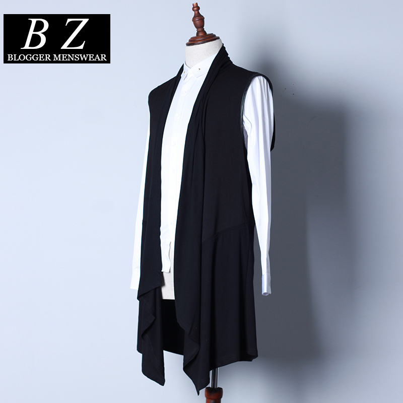 Gilet Mâle Personnalisé Mince Noir Cardigan Vêtements long Costumes Performance De Chanteur Hommes 2016 Mode Patchwork Nouveau Moyen SB8XBqw