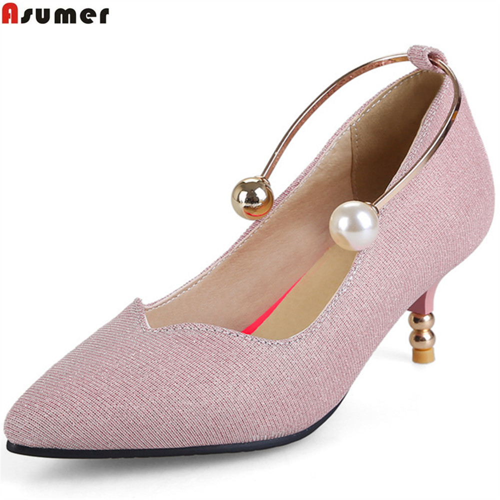 ASUMER pink fashion new women spring autumn pumps pointed toe shallow elegant ladies prom shoes high heels shoes big size 34-45 big size sale 34 43 new fashion sexy pointed toe women pumps spring summer autumn high heels ladies wedding party shoes 6629