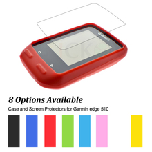 Rubber Protect Skin Case + Clear Screen Protectors Shield Film for Cycling Computer GPS Garmin Edge 510 Muti-Colors