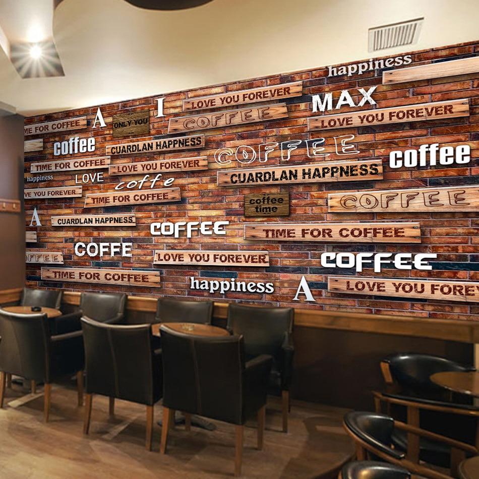 Custom wall mural 3d retro wood grain board letters for Coffee shop mural