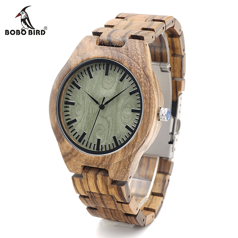 BOBO BIRD K24 Zebra Wood Wristwatch Green Basic Dial Mens Quartz Watch with Wood/Leather Strap Available in Gift Box woodfish bamboo wood watch for mens simple quartz watch handmade high quality wooden wristwatch wood leather strap available