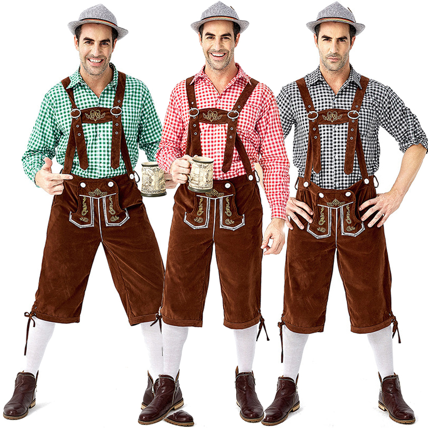 Germany Oktoberfest Bavaria Traditional Costumes Men Shirt+overall Cosplay Role-play Set Festival Cow Boy Medieval Clothing