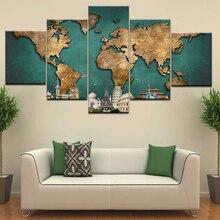 Mapa de construcción del mundo rompecabezas Vintage pinturas de arte de pared abstracta HD lienzo impreso imagen moderna para biblioteca Oficina habitación decoración del hogar