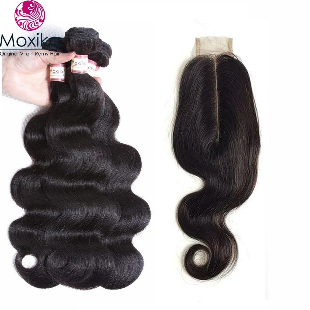 Moxika Brazilian Hair 3 Bundles With Closure Body Wave Kim K Middle Part Closure 2x6 inch