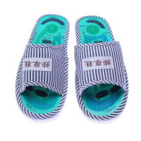 Men And Ladies Striped Health Care Foot Acupoint Massage Feet Massager Flat Slippers Relaxation One Pair