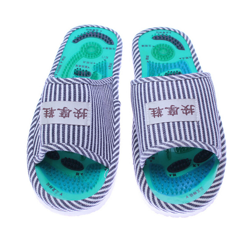 Men and Ladies Striped Health Care Foot Acupoint Massage feet massager Flat Slippers Relaxation One Pair Indoor Shoes 1 pair health care foot acupoint massager flat slippers for male female