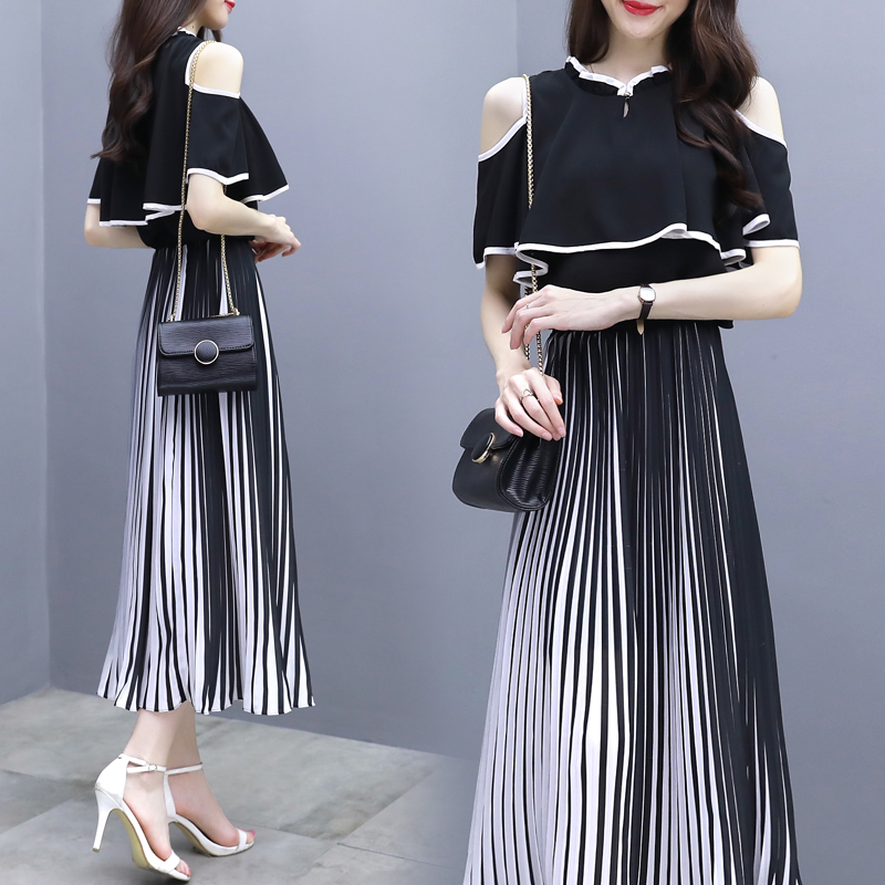Summer New 2018 Women Fashion Elegant Two Piece Sets Female Open Shoulder Chiffon Blouse and Skirts Set Clothes