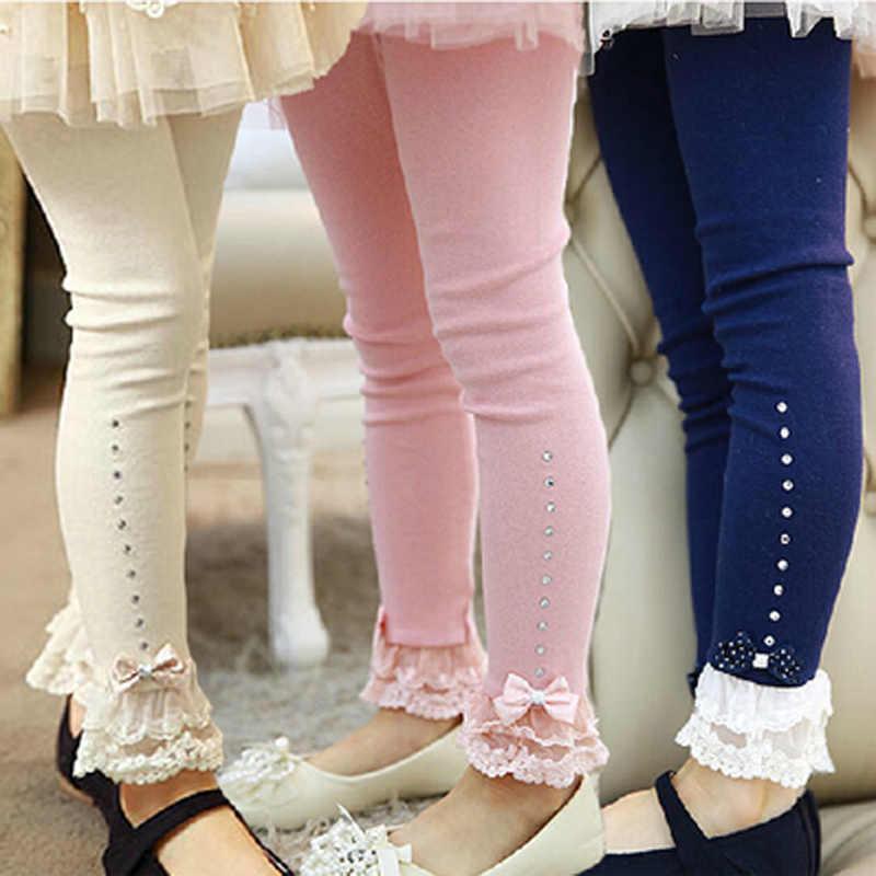 5a66b12e83a7a children leggings Baby girls spring fall pink blue beige lace trim ruffle  rhinestone leggings kids princess