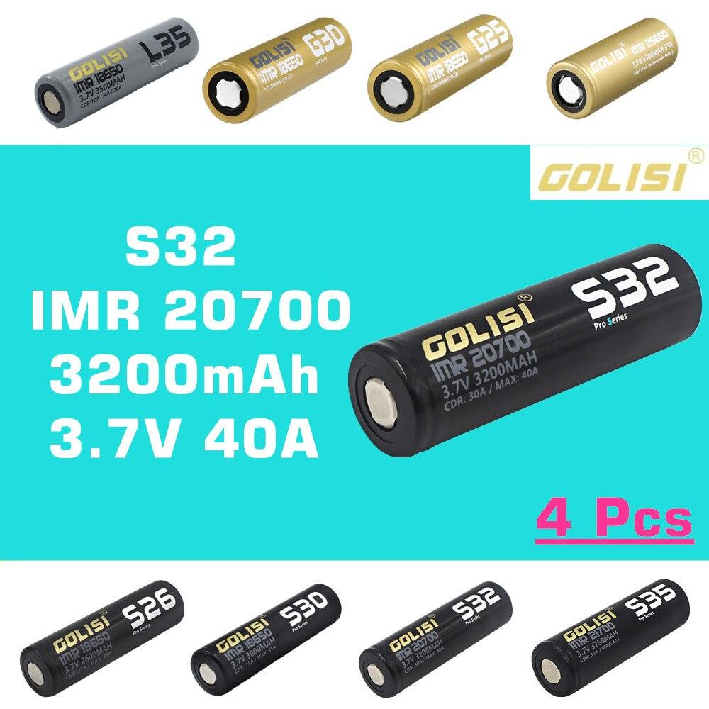 4 pièces GOLISI S32 IMR 20700 3200mah 3.7V CDR 30A MAX 40A haute vidange E CIG batterie rechargeable pour VAPE lampe de poche projecteur jouet-in Batteries rechargeables from Electronique    1