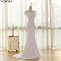 Real Photos White Beige Elegant Lace Sexy Mermaid Wedding Dresses 2016 Vestidos De Noiva Robe De