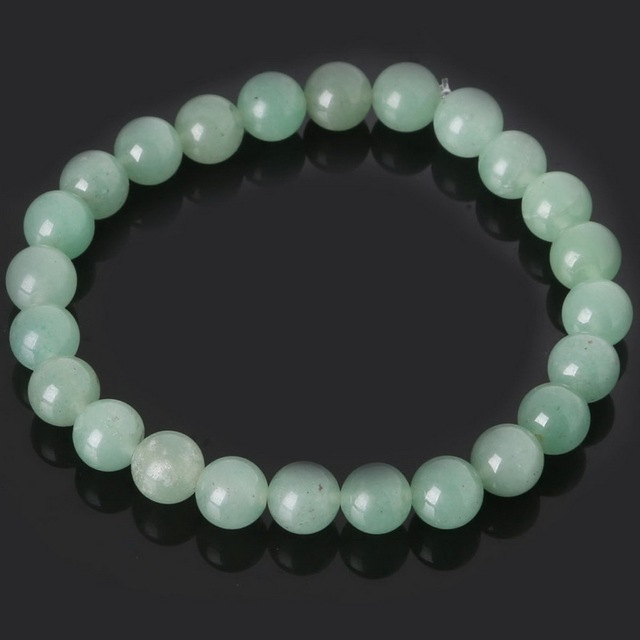 New Product Natural Stone 8mm Green Aventurine Beads Bracelets Bangles with Elastic Rope for Men and Women Fashion Jewelry
