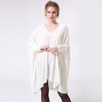 Autumn Women T Shirt Dress White V Neck Long Batwing Sleeve Loose Oversized Irregular Korean Casual