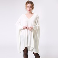 Autumn Women T Shirt Dress White V Neck Long Batwing Sleeve Loose Oversized Irregular Korean Casual