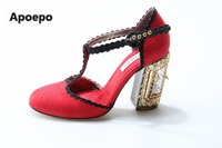 Новая дизайнерская женская обувь с аппликацией с вышивкой в стиле ретро Женская обувь Кристалл Клетка открыть окно насосы Обувь каблуке Св