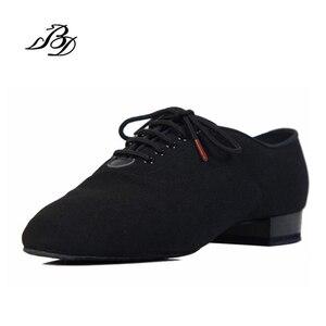 Image 1 - スニーカーbdダンスシューズ男性靴スクエアダンス社会社交ラテンシューズ309黒317現代の靴ホットオックスフォード布ヒール25ミリメートル
