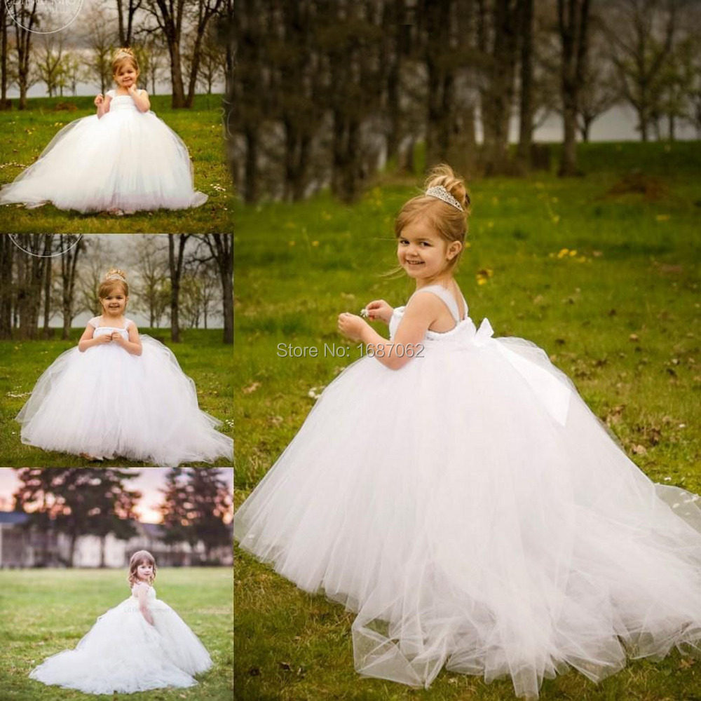 Miniature Bride White Flower Dresses With Detachable Train Little Kids S Dress Party Prom Gowns Pageant In From