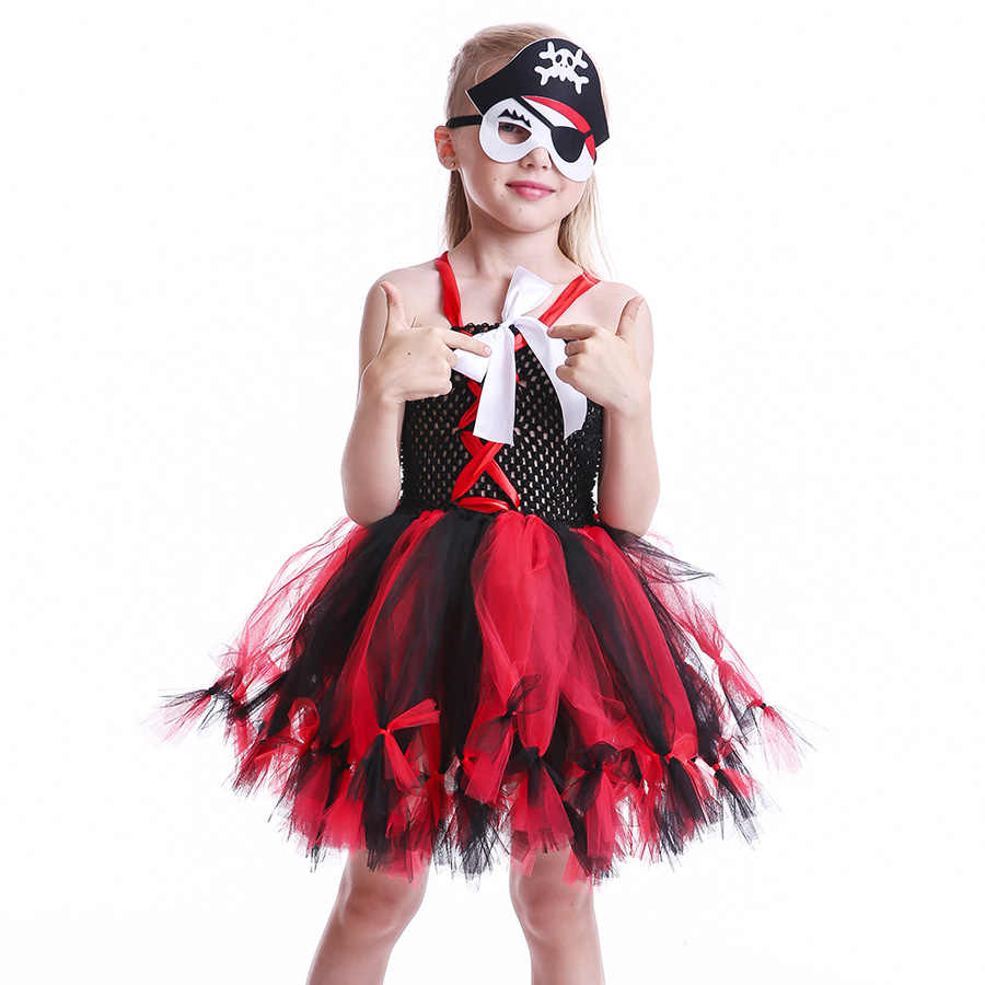 Girls Pirate Wench Tutu Dress with Skull Mask Petti Style Fluffy Halloween  Tulle Dress Kids Fancy Photo Prop Dress Up Costume