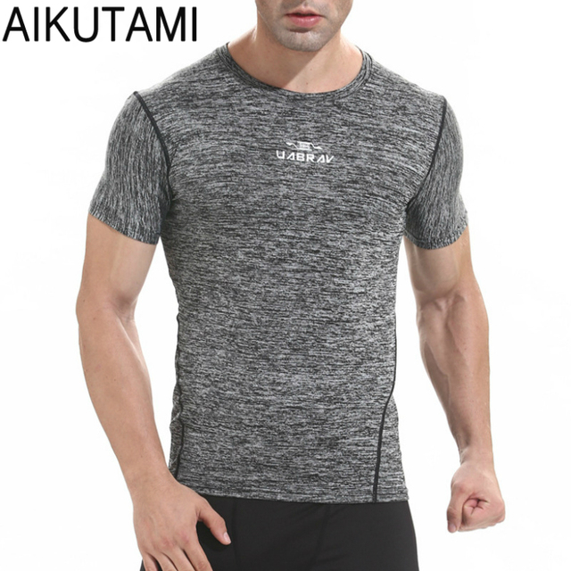 5bbe09a3 Dry Fit Men Running Shirts Short Sleeve Breathable Sport Jersey Workout T Shirt  Gym Baselayer Camisetas Deporte Hombre Plus Size