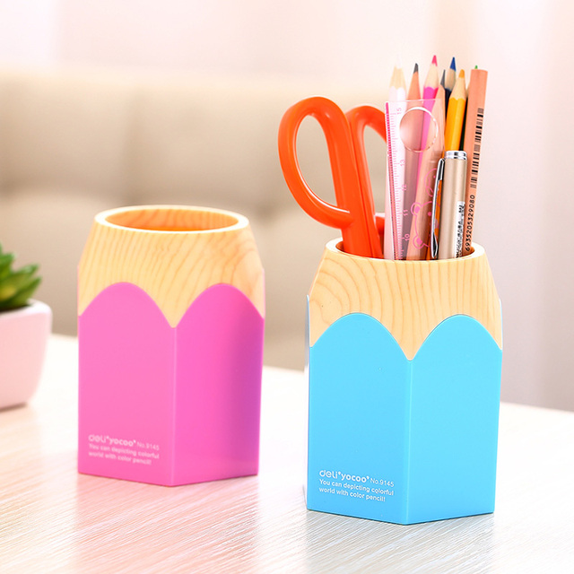 f484ad2d342 1 Pc Pencil Shaped Pen Stand Holders For Students Plastic Dest Stationery  Holder 80x105mm 2 Color Deli 9145