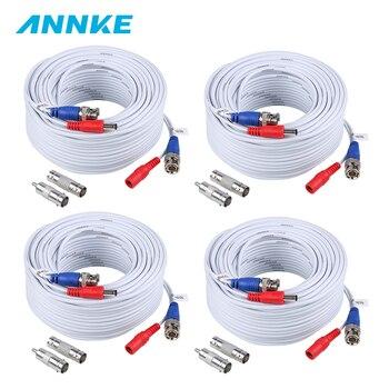 ANNKE 4 sztuk dużo 30 M 100 stóp wideo BNC kabel zasilający do kamery CCTV kamera AHD DVR System bezpieczeństwa biały nadzoru akcesoria