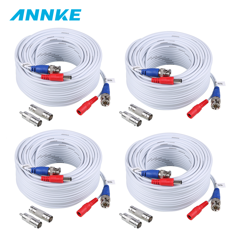 ANNKE 4PCS A Lot 30M 100 Feet BNC Video Power Cable For CCTV AHD Camera DVR Security System White Surveillance Accessories