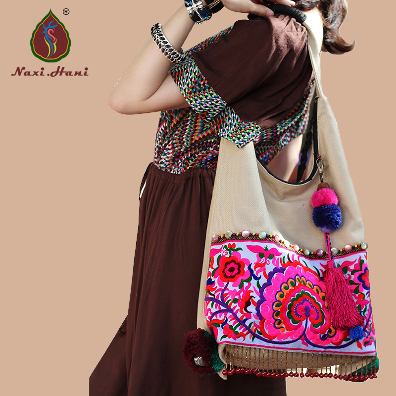 New arrival Exotic beige canvas Double sided embroidered Women <font><b>handbags</b></font> Ethnic <font><b>Tribal</b></font> tassel Casual shoulder bags