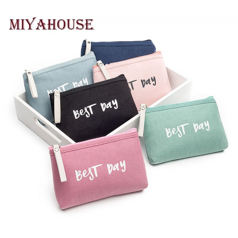 Miyahouse Letter Printed Travel Makeup Bag Lady Candy Color Canvas Cosmetic Bag Women Zipper Makeup Bags Female letter print makeup bag