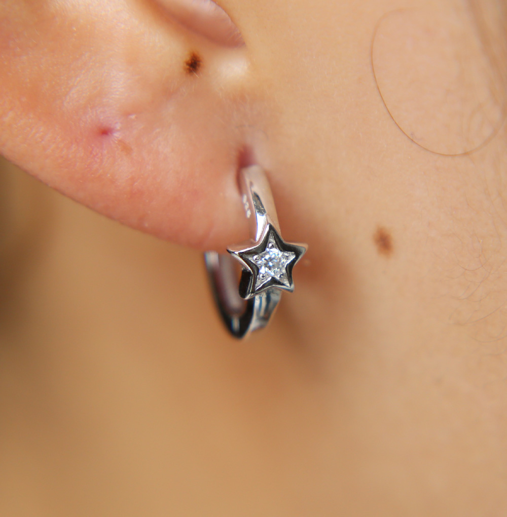 eee771427431 100% 925 sterling silver mini hoop earrings with star band Huggie hoops  small hoop fashion simple minimal jewelry earring girl
