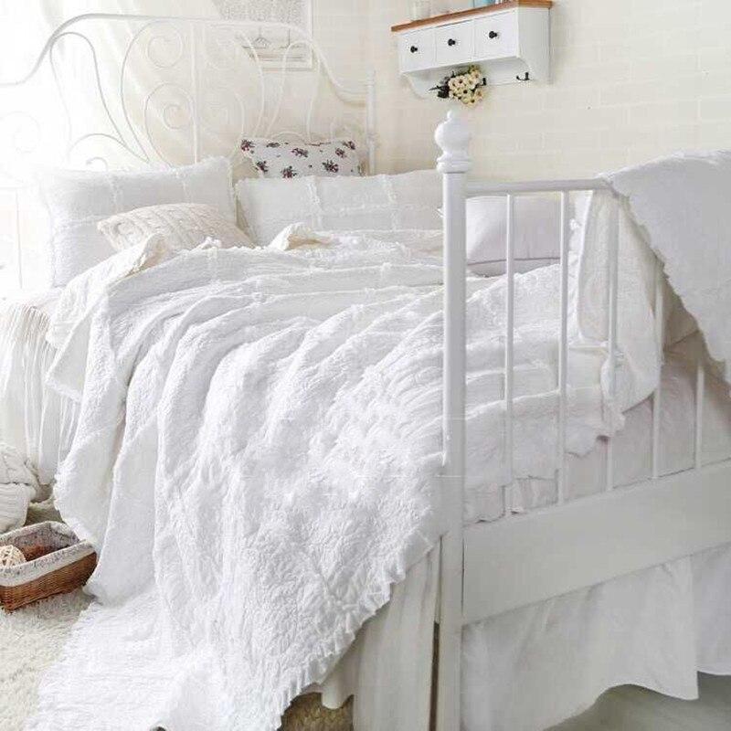American quilt set king size comforter set 1pc patchwork quilts 230*250 + 2 pillowcase 100% cotton duvet Ruffles 3D embroidery