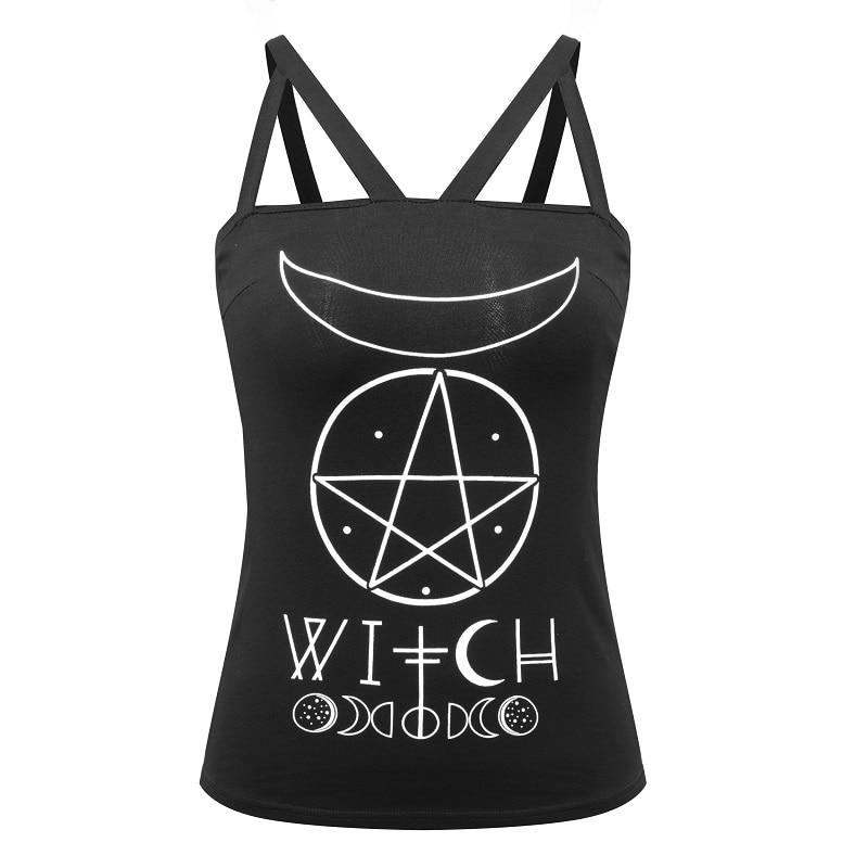 Camiseta negra de algodón con tiras de chica gótica con letras de bruja símbolo gótico Luna pentagrama estampado sin espalda femenino Sexy Camis negro