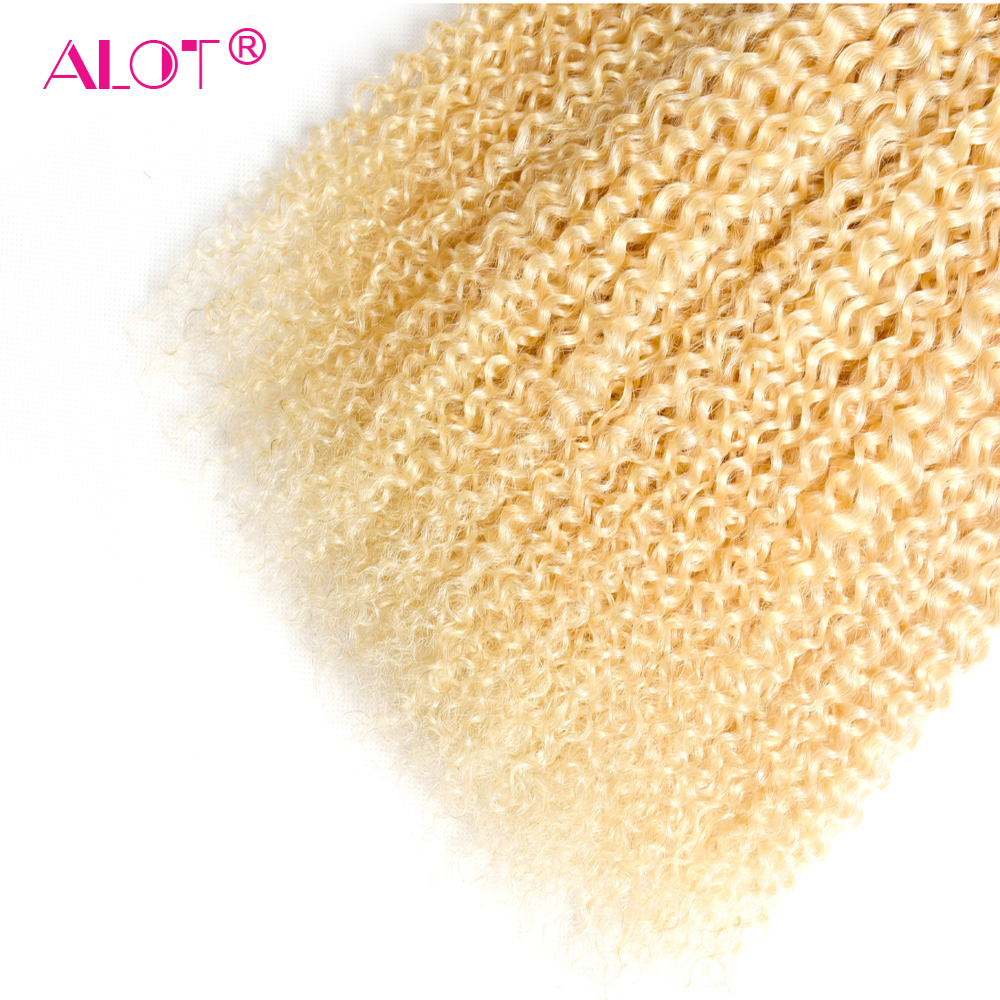 Alot  613 Kinky Curly  3/4 Bundles Blonde Hair  12 To 24 Inch Double Weft Non  Hair s 5