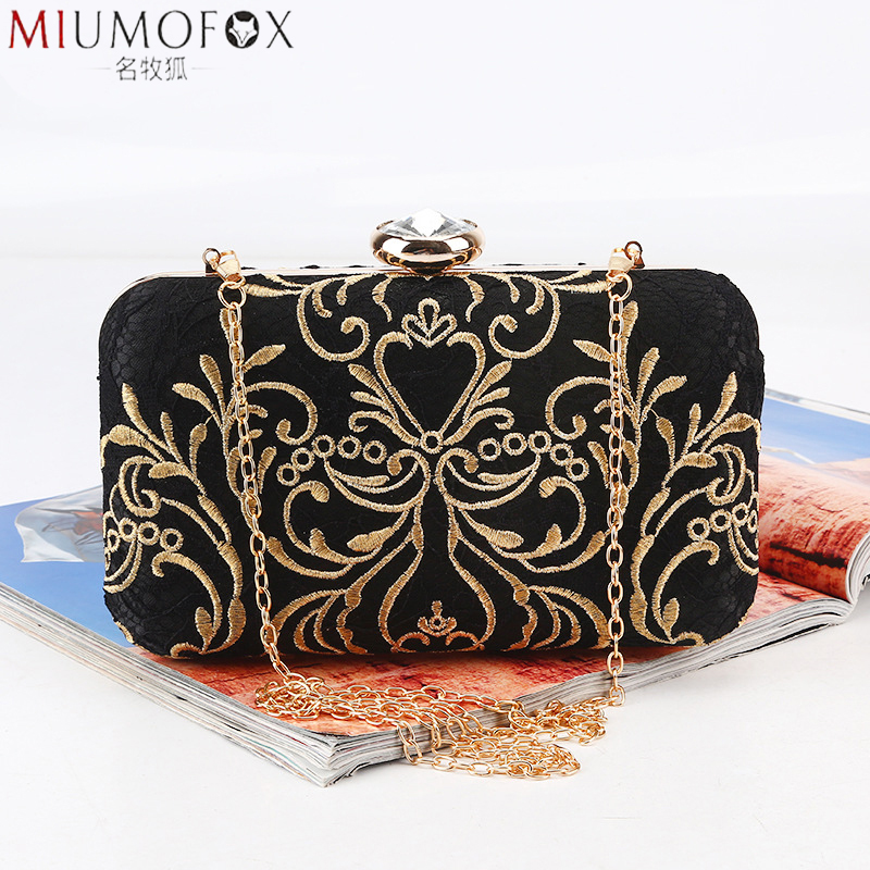 Fashion New Printed Gold Embroidery Evening Bag Vintage Chain Shoulder Messenger Bag Clutch Lady Party Dinner Wedding Handbags(China)