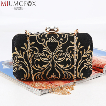 Fashion New Printed Gold Embroidery Evening Bag Vintage Chain Shoulder Messenger Bag Clutch Lady Party Dinner Wedding Handbags цена 2017