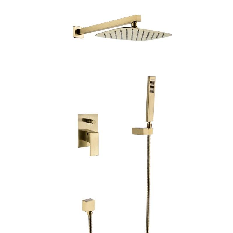 Système de douche de salle de bains, ensemble de douche en laiton brossé or, chaud et froid intégré dans caché, mural foncé,