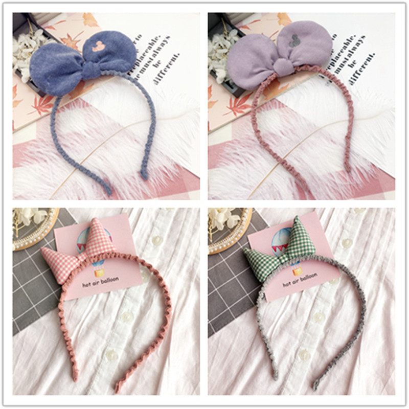 Korea Cloth Hair Accessories Lovely Wool Bow Knot Flower Hairband for Girls Crown Headband Hair Band Princess 4