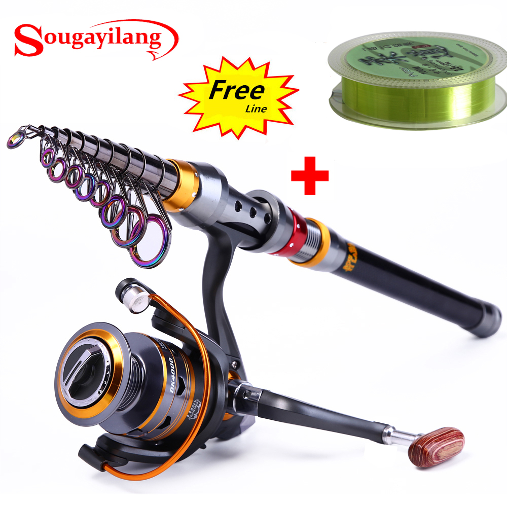 Sougayilang 1.8-3.6m Rod Memancing Teleskopik dan 11BB Roda Gelendong Memancing Portable Travel Fishing Rod Spinning Memancing Rod Combo