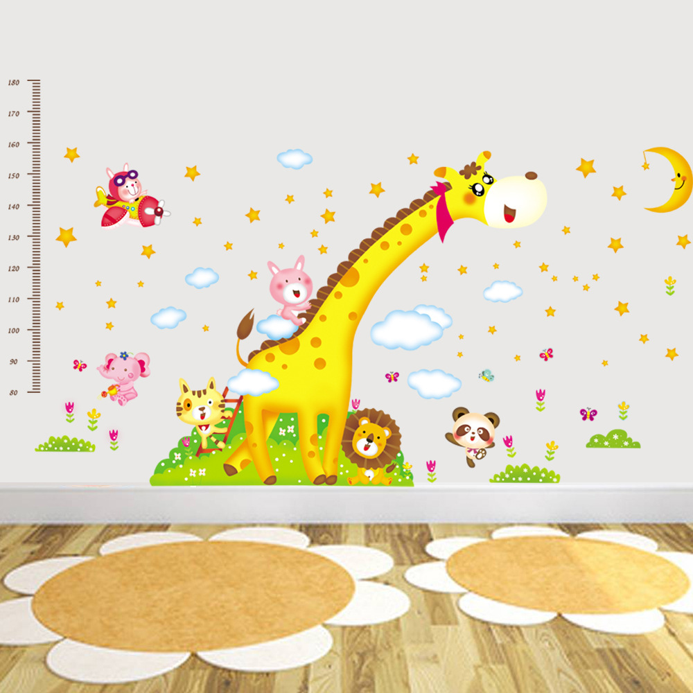 Cartoon Giraffe Monkey Animals Height Wall Sticker Baby Room ...