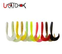 10pcs/bag 10color choice 8cm 3.5g big size single tail soft worm artificial insect grub bass fishing lure bait tackle