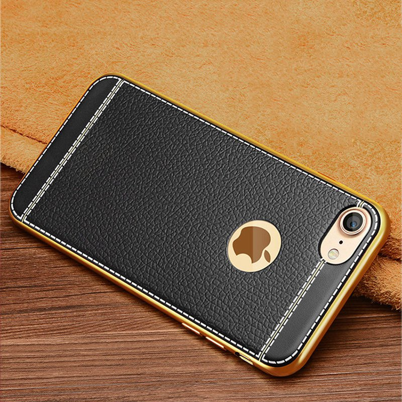 brand new 61549 9c2e6 US $2.99 40% OFF|KISSCASE Gold Plated Case For iPhone 6S 6 7 8 Plus 5S 5 SE  Cover 3D Embossed Litchi TPU Phone Cases For iPhone 5S 5 SE X Shells-in ...