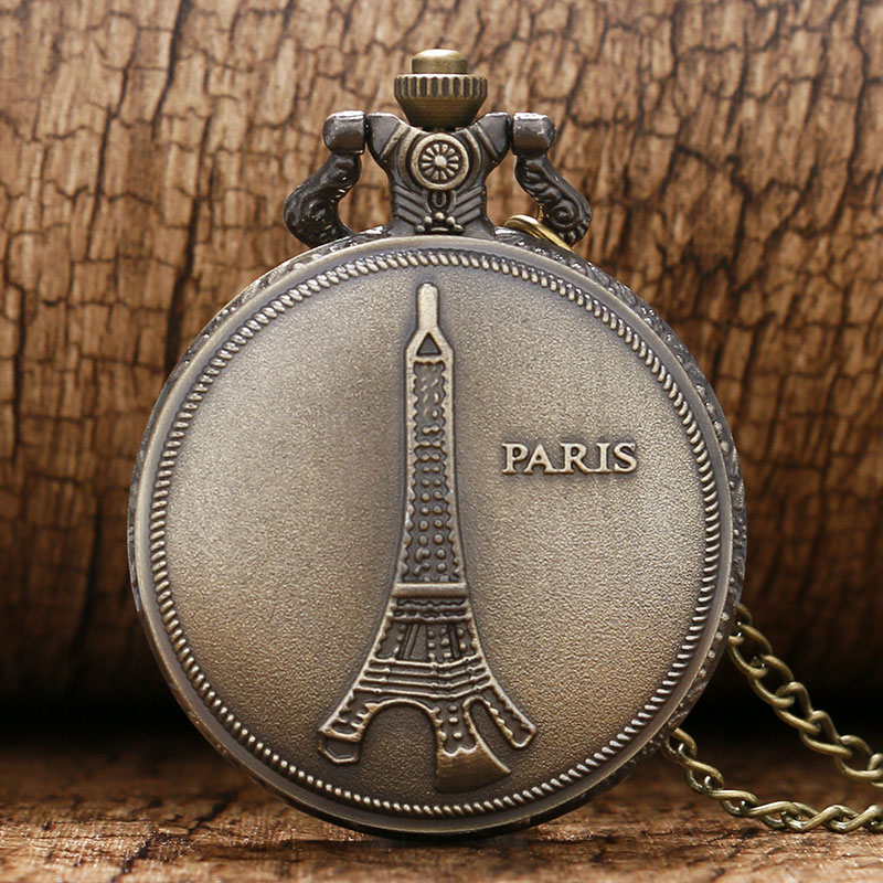 New Arrival Bronze Tone Necklace Chain PARIS Eiffel Tower Quartz Pendant Pocket Watch Free Shipping Accessory Clock Necklace